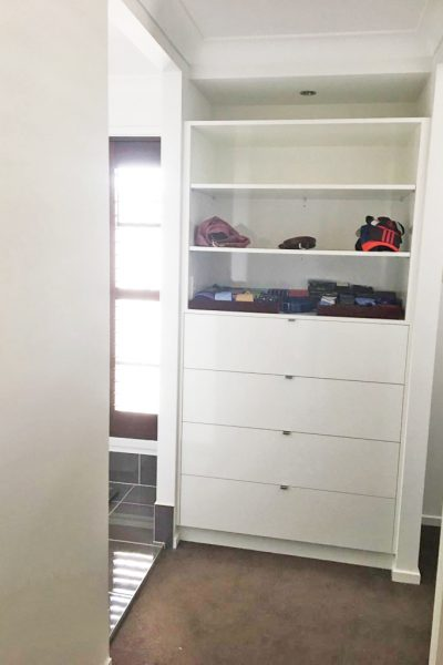 Built-in Cupboard with Shelving designed and built by Gecko Kitchens Designer and Builder Brisbane
